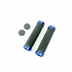 SD bmx/mtb black lock on grip 130mm without flange, lockrings Blue