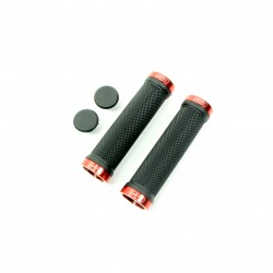 SD bmx/mtb black lock on grip 130mm without flange, lockrings Red