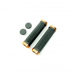 SD bmx/mtb black lock on grip 130mm without flange, lockrings Orange