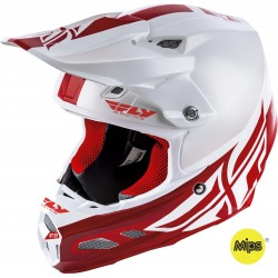 Fly F2 2019 Carbon Mips MX Helmet Shield White/Red