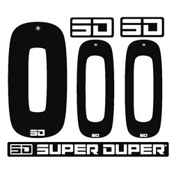 SD Front + 2 Side plate numbers and SD logo sticker kit nr Black