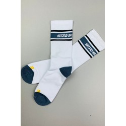 Stay Strong Stripe Socks White