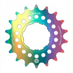 """Box Hex Lab 3/32"""" Cnc Titanium Cog Rainbow"""